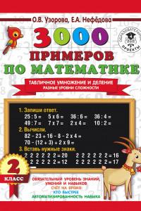 3000 примеров по математике. Табличное умножение и деление. Разные уровни сложности. 2 класс