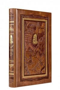 Кодекс самурая. Хагакурэ. Книга Пяти Колец. Книга в коллекционном кожаном переплете ручной работы с дублюрой, окрашенным и вызолоченным обрезом