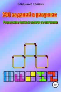 250 заданий в рисунках. Разрезание фигур и задачи со спичками